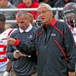 Former Coatesville Area AD Jim Donato, left, and ex-Superintendent Richard Como walk the sidelines during a Coatesville football game last season. (Daily Local file photo by Tom Kelly IV)