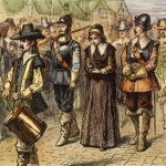 "Officials from the Massachusetts Bay Colony lead Mary Dyer to a public ""prayer opportunity"" on Boston Common."