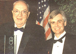 """Sen. Jesse Helms accepts the """"Proudly Pro-Life"""" award from the National Right to Life Educational Trust Fund in 1998."""