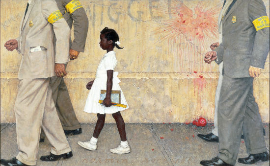 "Norman Rockwell, ""The Problem We All Live With,"" 1963. How do you come back from being the guy who threw that tomato? Change the subject."