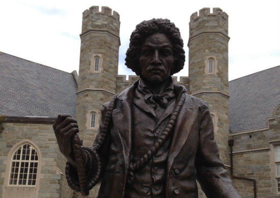 This statue of Frederick Douglass stands in the center of West Chester University, out here in Chester County.