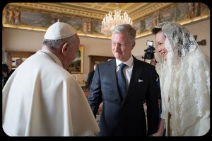 Pope Francis Greets King Philippe and Queen Mathilde