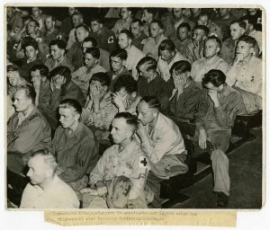 Captured Germans Being Forced to Watch Films from the Concentration Camps