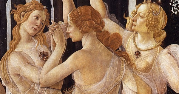 Three graces detail of Primavera, Botticelli 1481,