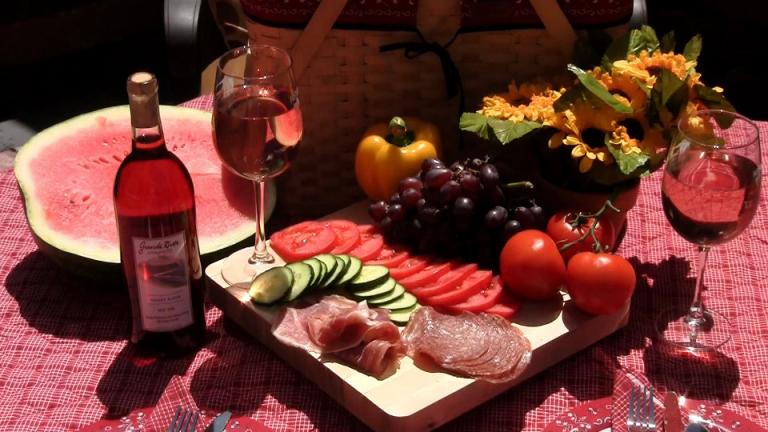 wine picnic cheese meat vegetables fruits basket goddess autumn
