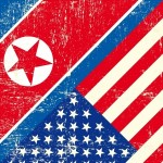 A North Korean and United States flag.