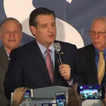 Ted Cruz delivering his victory speech after the Iowa caucus. (Screenshot from YouTube, ABC News)
