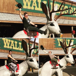 Touring is serious business, so play hard! Riding the Jackalope at Wall Drug in SD.