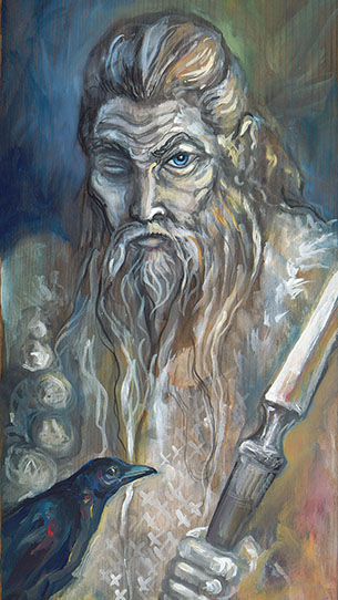 Detail of Odin painting by Laura Tempest Zakroff