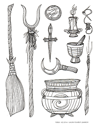 "Witch Tools - from the author's ""Witch's Brew Coloring Book"" - available at www.owlkeyme.com"