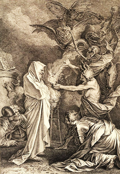 Etching of Saul & the Witch of Endor, from the mid 1700's