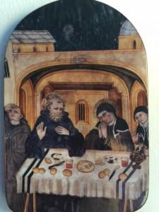 My Icon of Benedict and Scholastica from the still brilliant fresco at Subiaco.