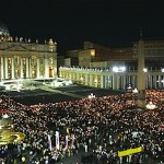The crowd keeping vigil in St. Peter's Square the night he died; April 2, 2005.