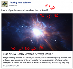 Lesson: IFLS cares about clicks more than science.