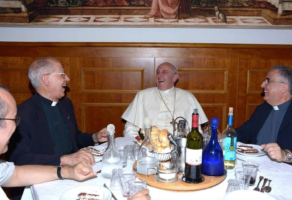 Celebrating the feast of St. Ignatius at Jesuit HQ in Rome Our sources tell us the joke was not actually about world  domination.