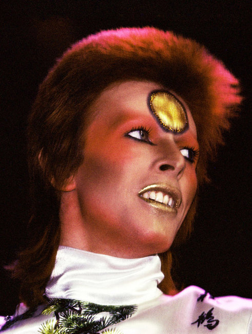 Bowie as Ziggy Stardust at Earls Court (photo by John Robert Rowlands)