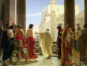 Ecce homo! Antonio Ciseri's 1871 depiction of Pontius Pilate presenting Jesus to the public (pic is public domain)