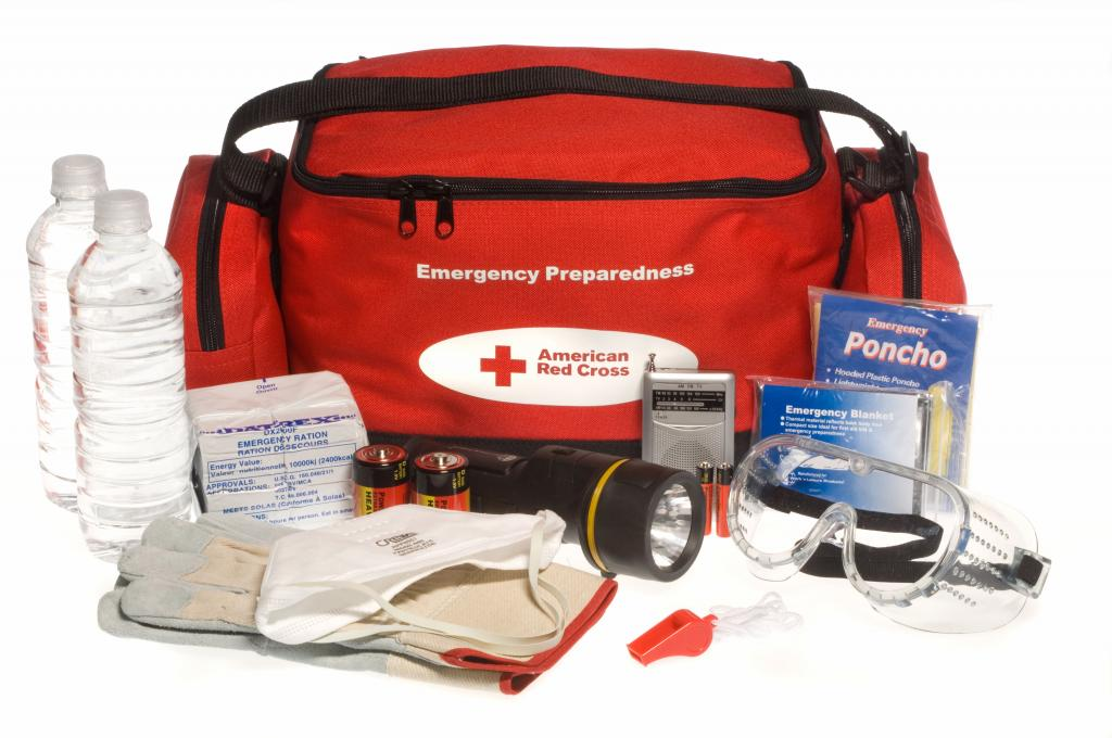 """Washington, DC, July 22, 2008 -- A Red Cross """"ready to go"""" preparedness kit showing the bag and it's contents. Red Cross photograph"""