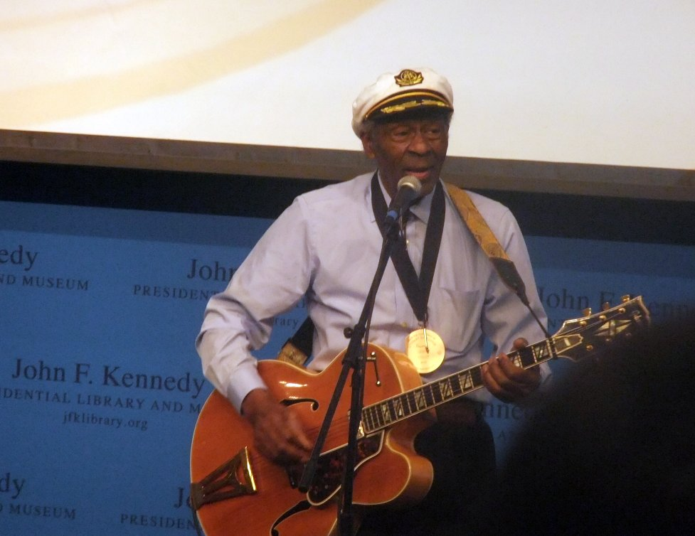 Chuck Berry at the Pen Awards for songwriting excellence in 2012. Photo by Michael Borkson via Wikimedia Commons, CC-BY-2.0