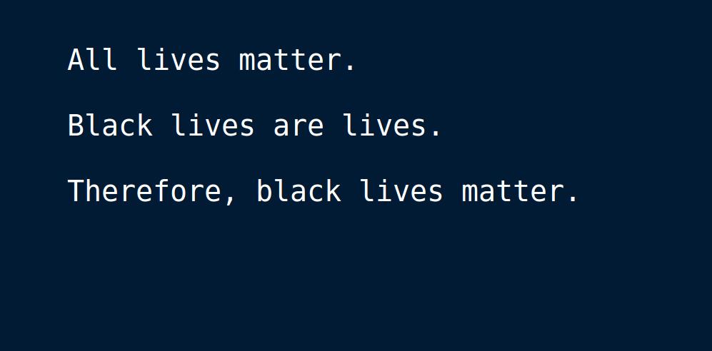 A social justice syllogism.