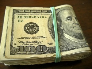 folded money for Trump's pocket