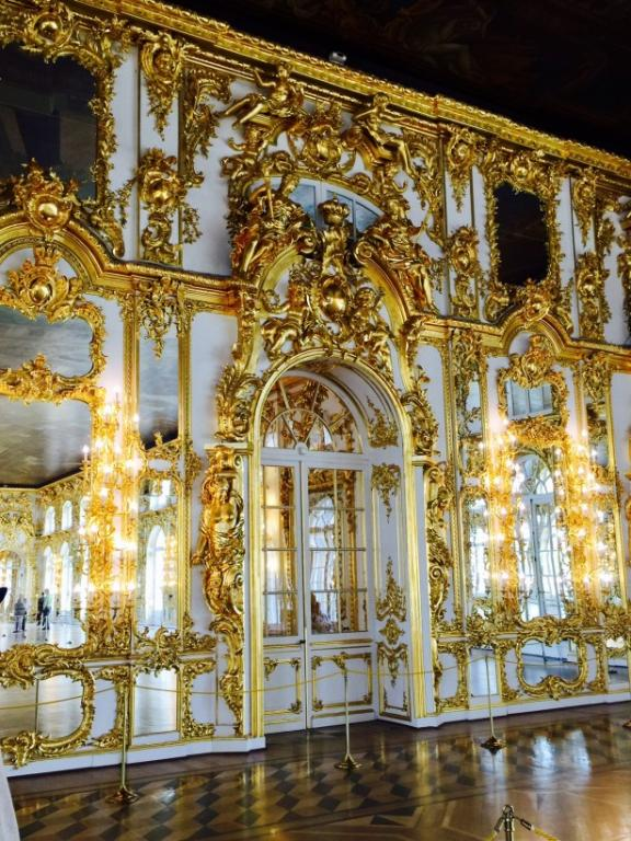 Some of the gold gilding in the Catherine Palace; some say Putin wants to be the next Tsar.