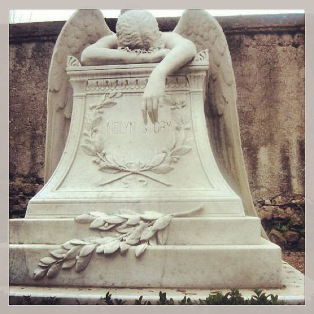 A weeping angel gravestone in a cemetery in Rome. I took this picture on my trip there in 2010.  May the victims of the Colorado Planned Parenthood shooting rest in peace.
