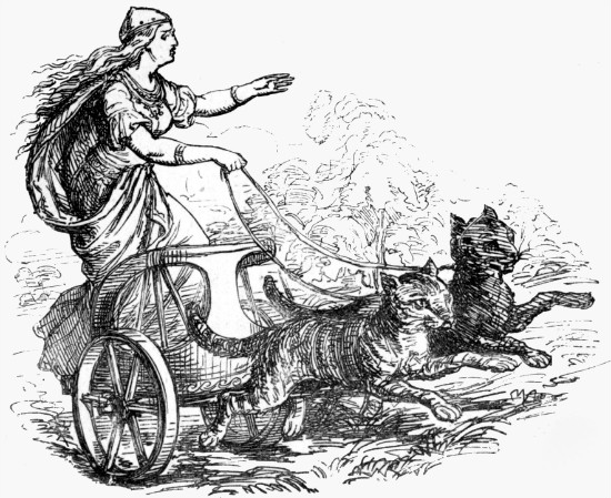 "Freyja from Alexander Murray's ""Manual of Mythology.""  From WikiMedia."