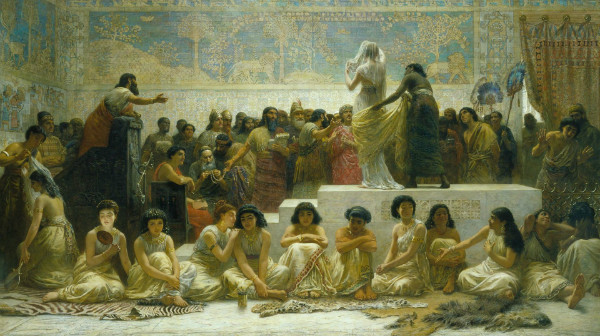 """Babylonian Marriage Market"" by Edwin Long.  From WikiMedia."
