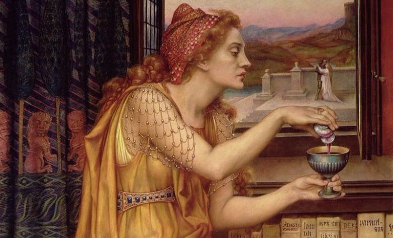 """The Love Potion"" by Evelyn De Morgan.  From WikiMedia."