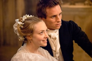 Amanda Seyfried is Cosette, here with her love Marius (Eddie Redmayne)