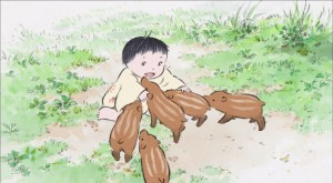 Little Bamboo, playing with wild pigs