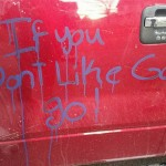 Atheist's Truck Vandalised by God-fearing Neighbours