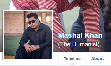 Mashal Khan humanist facebook profile
