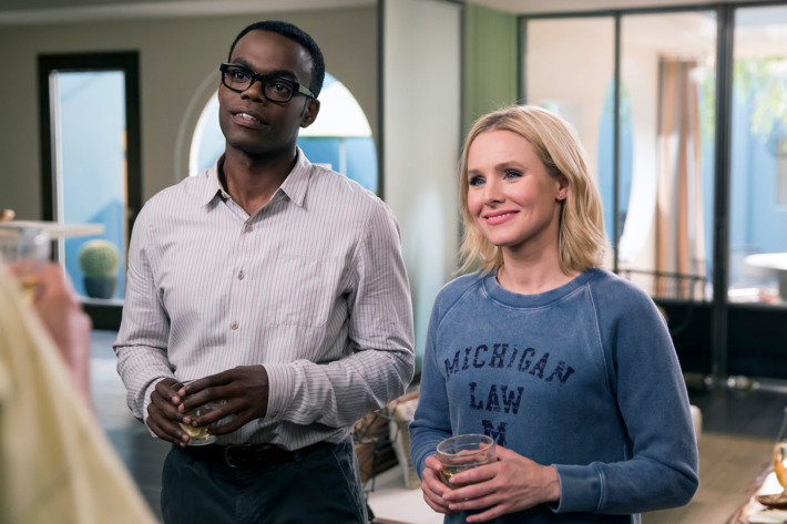 Two characters in The Good Place, Eleanor, who doesn't deserve to be living in the good afterlife, and her friend Chidi who is a moral philosophy professor trying to help her stay by teaching her ethics.