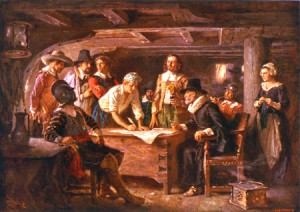 Signing of the Mayflower Compact by Percy Moran