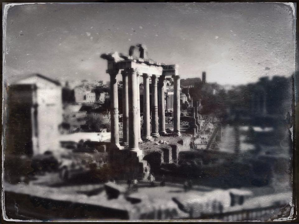 The ruins of the Temple of Saturn (the columns date from 43 BCE) in the Roman Forum. Photo by Courtney Perry.