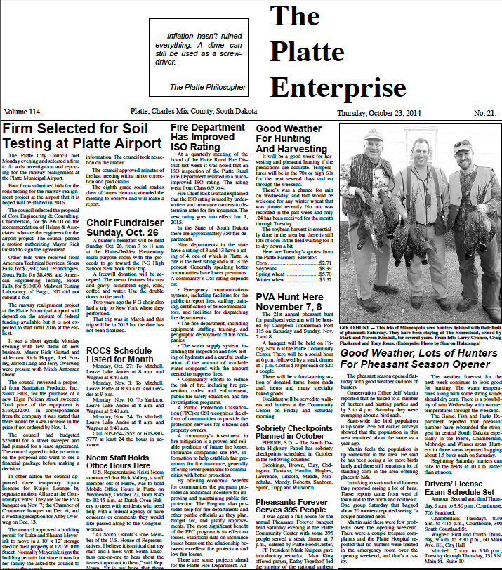 Platte front page