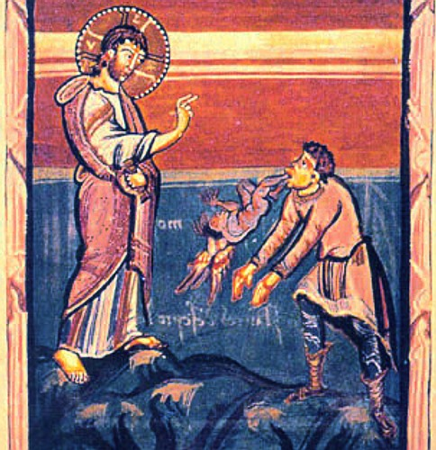 Jesus exorcising the Gerasene demoniac, from the Hitda Codex manuscript; Wikipedia.