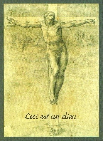 """This is a god"" French superscript added to Michelangelo's The Crucifixion"