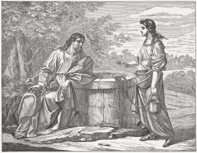 "Jesus and the Samaritan woman (John, Chapter 4). Woodcut from the book ""Evangelisches Haus-Predigtbuch (Protestant house-book for sermons)"" by Friedrich Albert Hauber. Published by J. Ebner, Ulm (ca. 1880)"