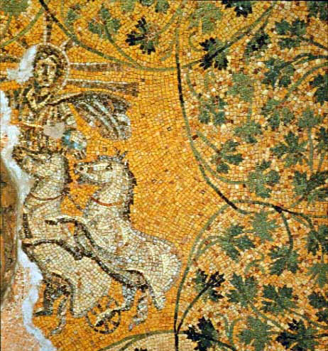 A representation of Jesus as the sun-god Helios/Sol Invictus riding in his chariot. Mosaic of the 3rd century on the Vatican grottoes under St. Peter's Basilica.