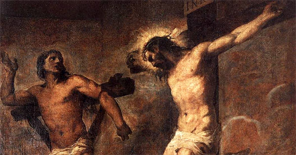 detail from Christ and the Good Thief, by Tiziano Vecelli (Titian), 1566
