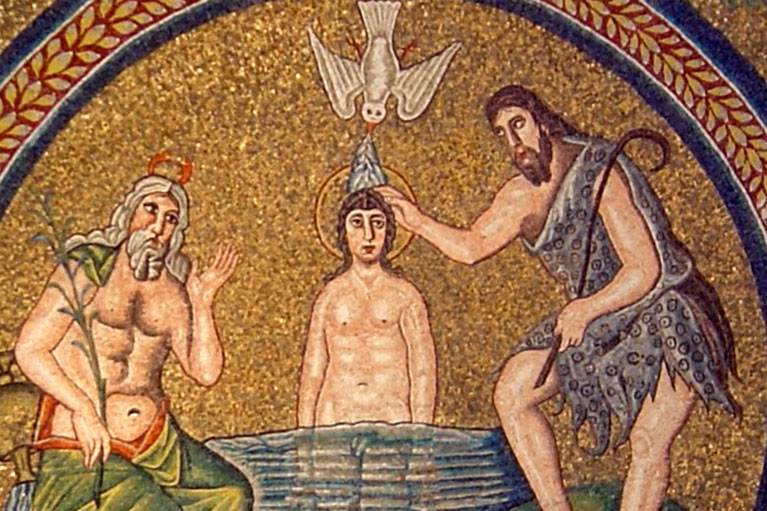 Baptism of Jesus, Arian Baptistry in Ravenna, Italy. Photo by Don M. Burrows.
