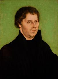 BAG13642 Portrait of Martin Luther, 1525 (oil on panel) by Cranach, Lucas, the Elder (1472-1553); 40x26.6 cm; © Bristol City Museum and Art Gallery, UK; (add.info.: Luther (1483-1546) German religious reformer;); German,  out of copyright