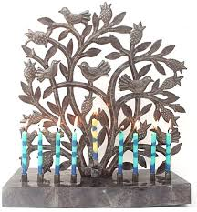 menorah made in Haiti out of recycled 55 gallon drums
