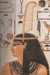 Maat wearing feather of truth - Image via Wikimedia Commons, public comain