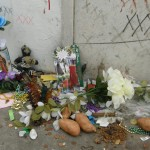 Offerings left at the possible site of Marie Laveau's tomb, St. Louis cemetery No. 1.
