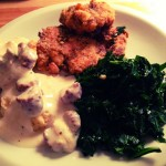 Southern Comfort Cooking: Oven Fried chicken, homemade buttermilk biscuits and collard greens by flippinyank licensed under CC 2.0