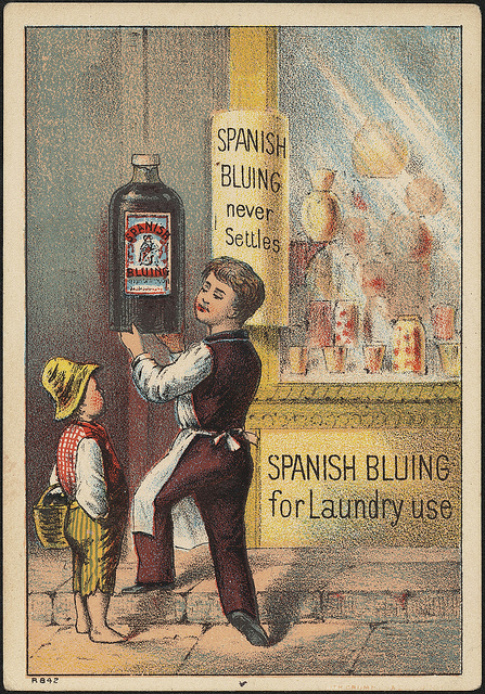 Spanish Bluing for laundry photo courtesy of Boston Public Library. Licensed under CC 2.0